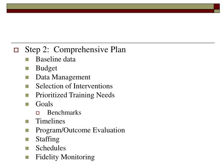 Step 2:  Comprehensive Plan