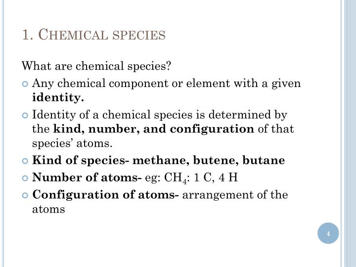 1. Chemical species