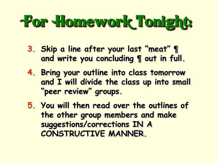 For  Homework Tonight: