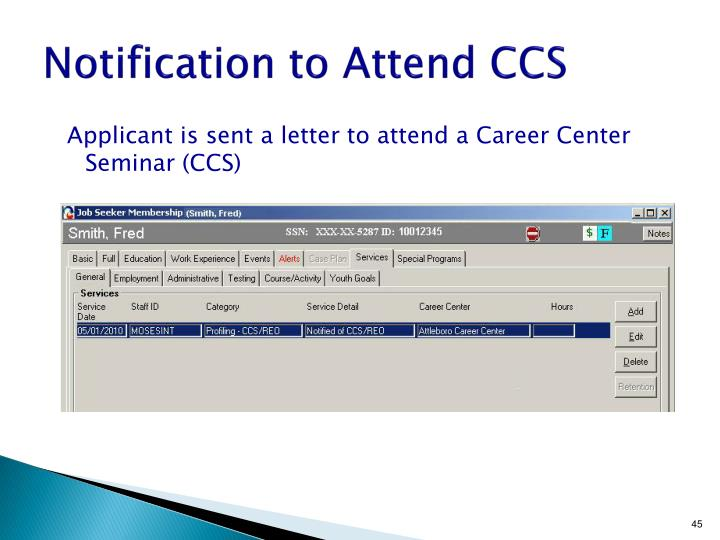 Notification to Attend CCS