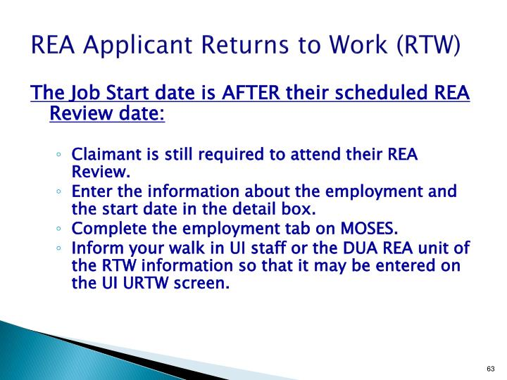 REA Applicant Returns to Work (RTW)