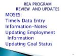 rea program review and updates