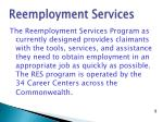 reemployment services