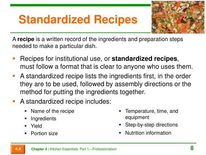 Standardized Recipes