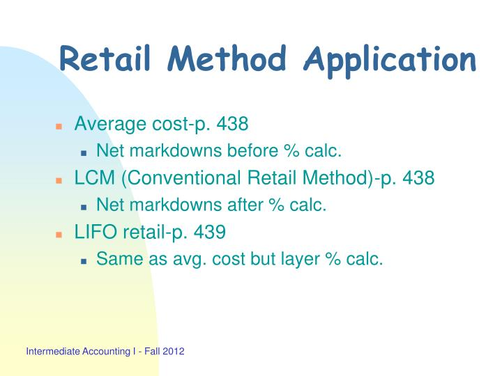 Retail Method Application