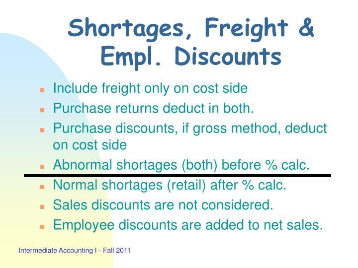 Shortages, Freight & Empl. Discounts