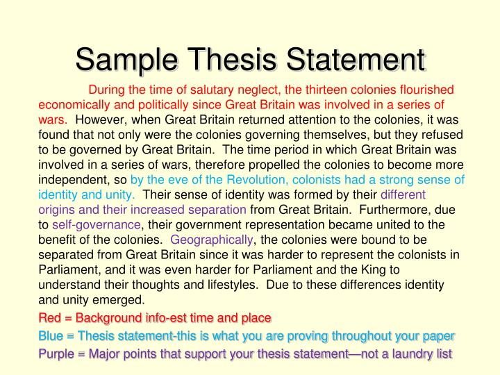 Sample Thesis Statement