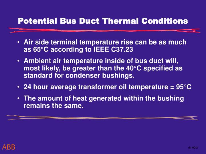 Potential Bus Duct Thermal Conditions