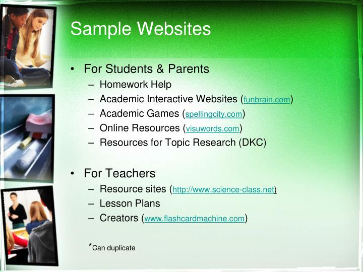 Sample Websites