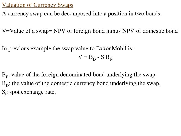 Valuation of Currency Swaps
