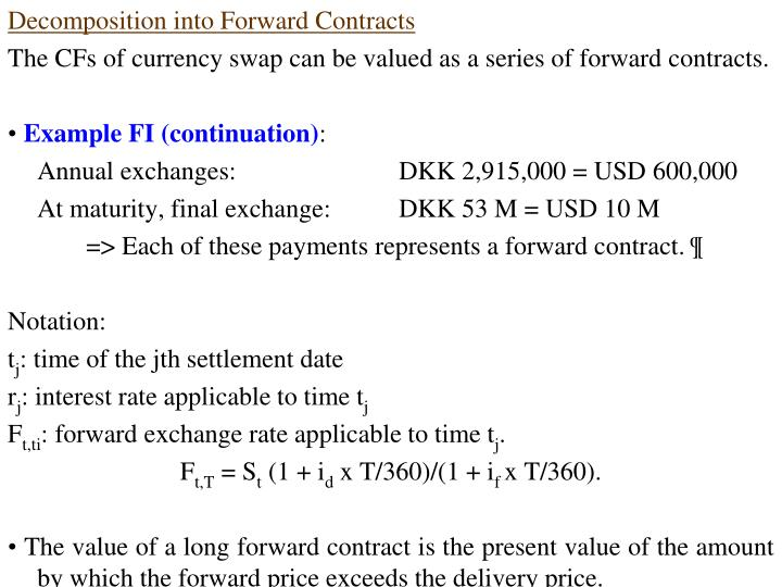 Decomposition into Forward Contracts