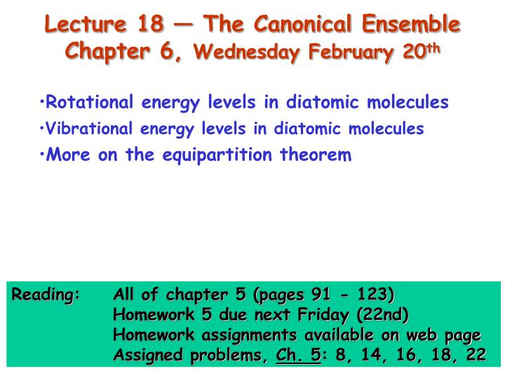 Lecture 18 — The Canonical Ensemble