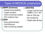 types of medical prophylaxis