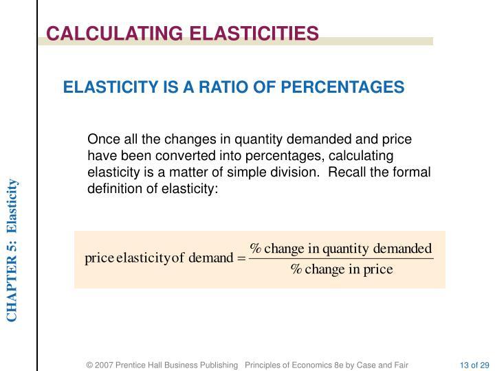 CALCULATING ELASTICITIES