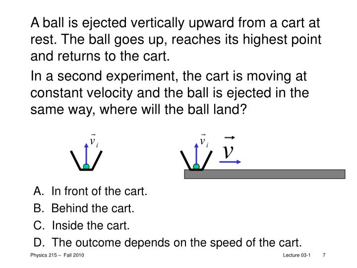 A ball is ejected vertically upward from a cart at rest. The ball goes up, reaches its highest point and returns to the cart.