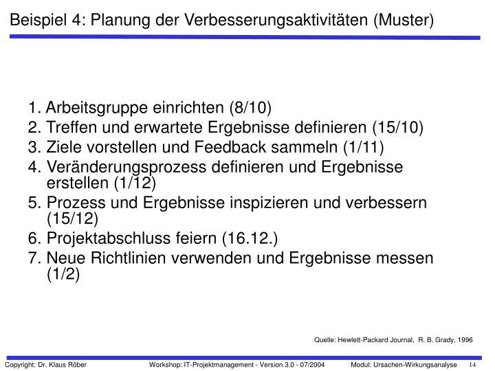 Beispiel 4: Planung der Verbesserungsaktivitäten (Muster)