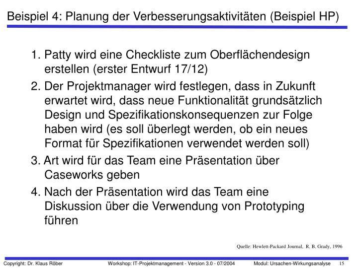 Beispiel 4: Planung der Verbesserungsaktivitäten (Beispiel HP)