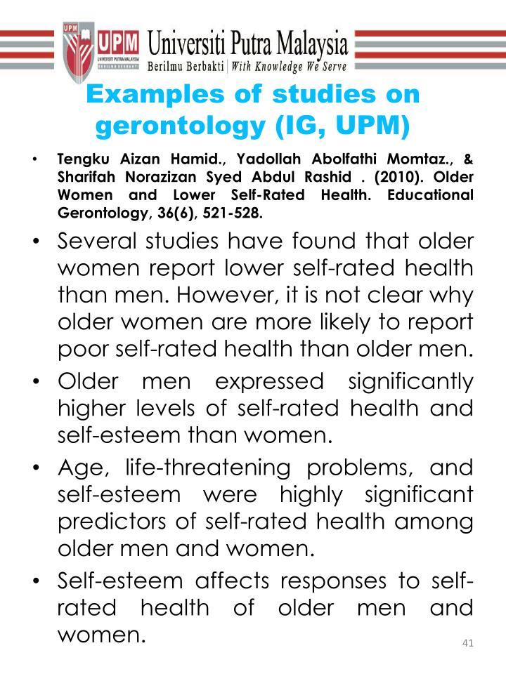 Examples of studies on gerontology (IG, UPM)