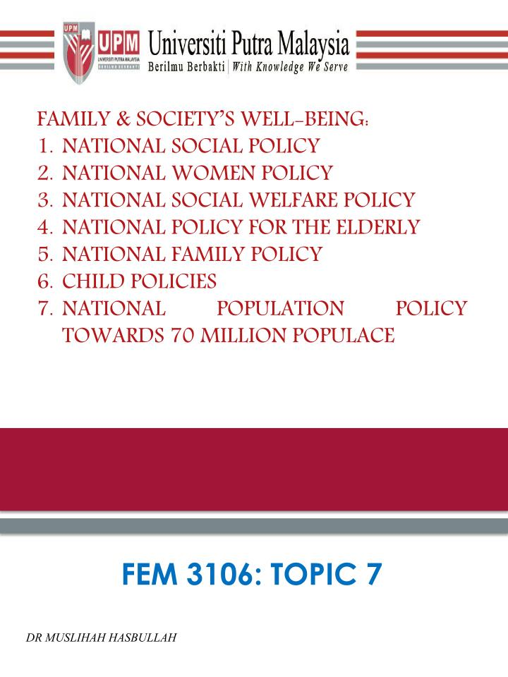 FAMILY & SOCIETY'S WELL-BEING:
