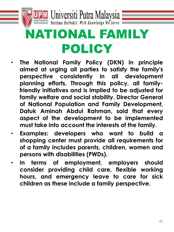 NATIONAL FAMILY POLICY