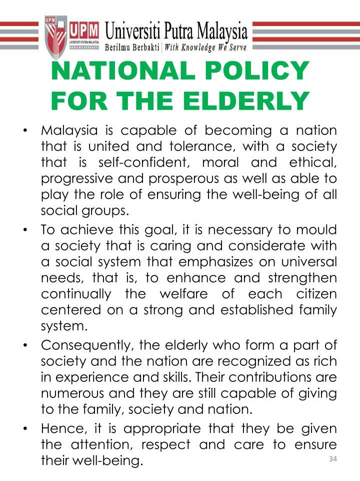 NATIONAL POLICY FOR THE ELDERLY