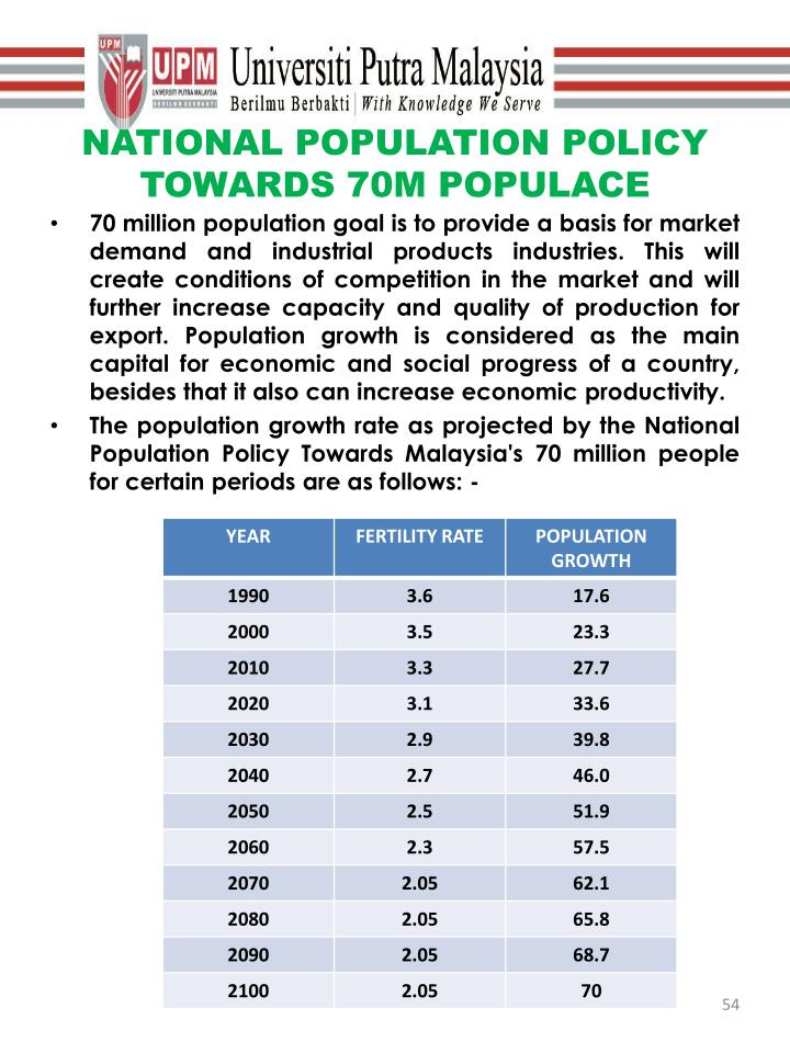 NATIONAL POPULATION POLICY TOWARDS 70M POPULACE