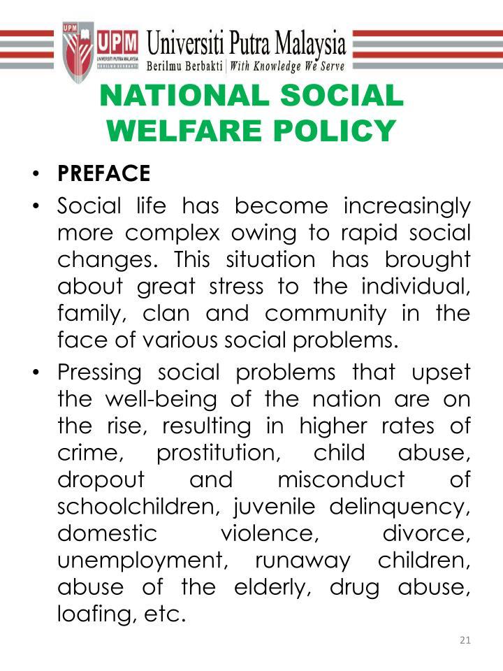 NATIONAL SOCIAL WELFARE POLICY