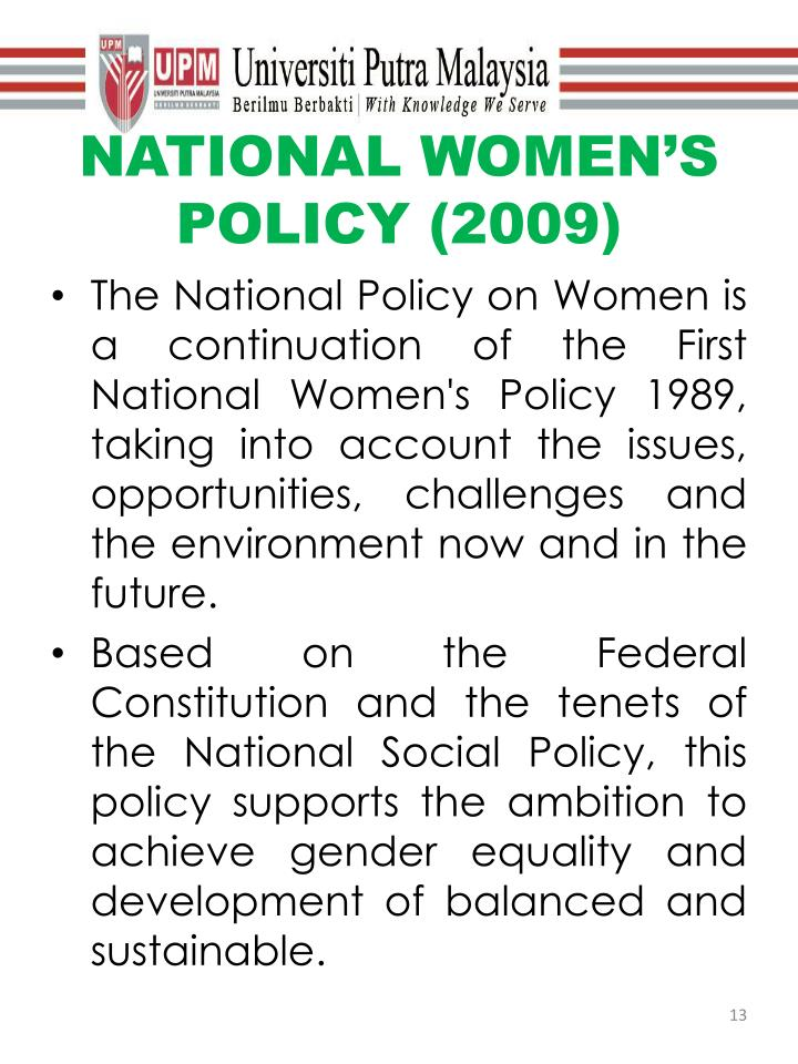 NATIONAL WOMEN'S POLICY (2009)