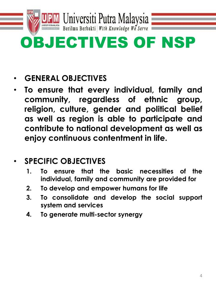 OBJECTIVES OF NSP