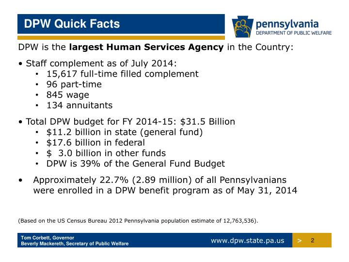 DPW Quick Facts