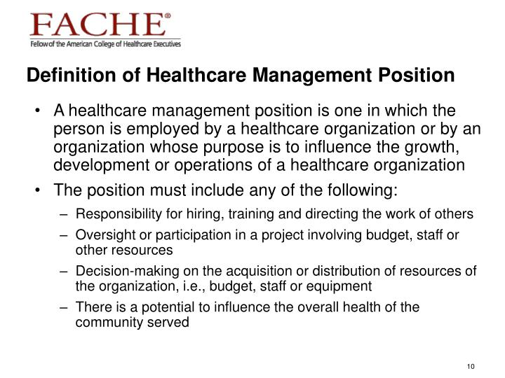 Definition of Healthcare Management Position