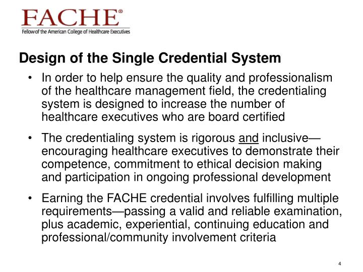 Design of the Single Credential System