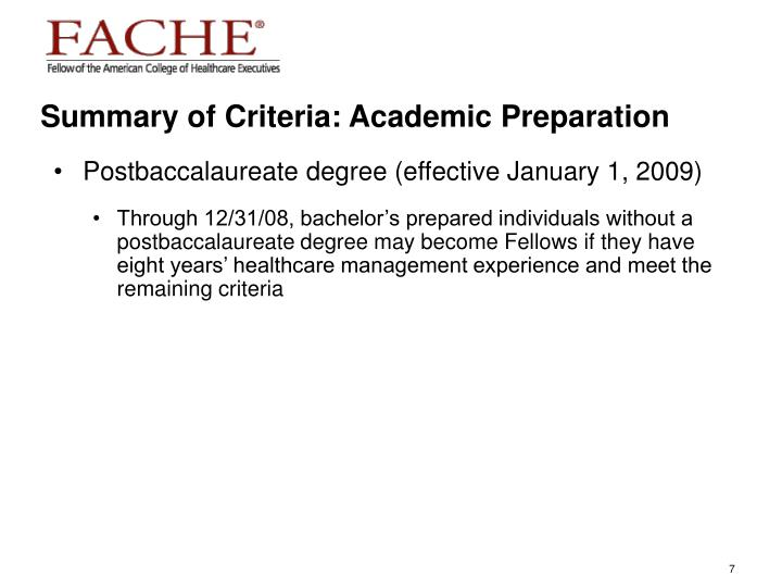 Summary of Criteria: Academic Preparation
