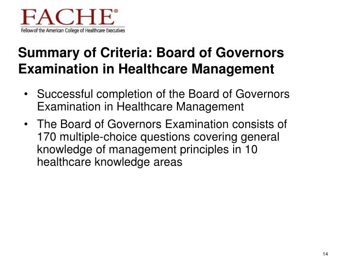 Summary of Criteria: Board of Governors Examination in Healthcare Management