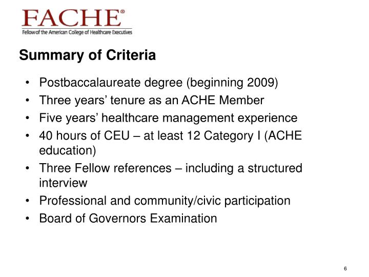 Summary of Criteria