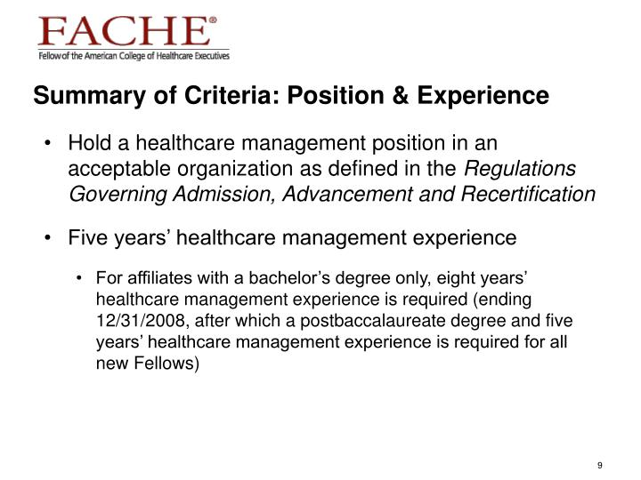 Summary of Criteria: Position & Experience