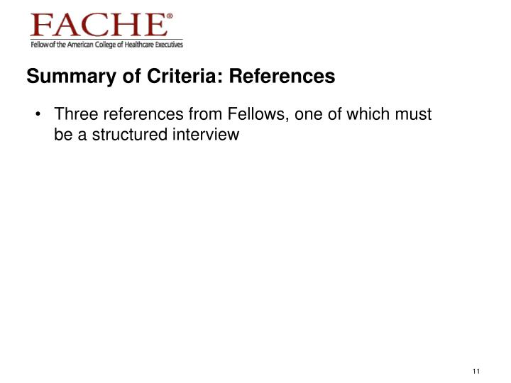 Summary of Criteria: References