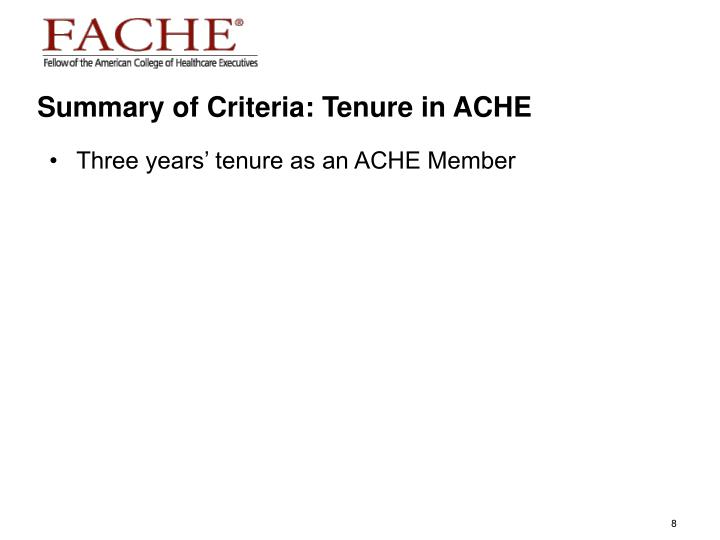 Summary of Criteria: Tenure in ACHE