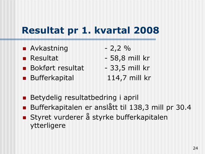 Resultat pr 1. kvartal 2008
