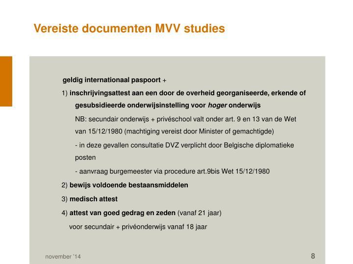 Vereiste documenten MVV studies