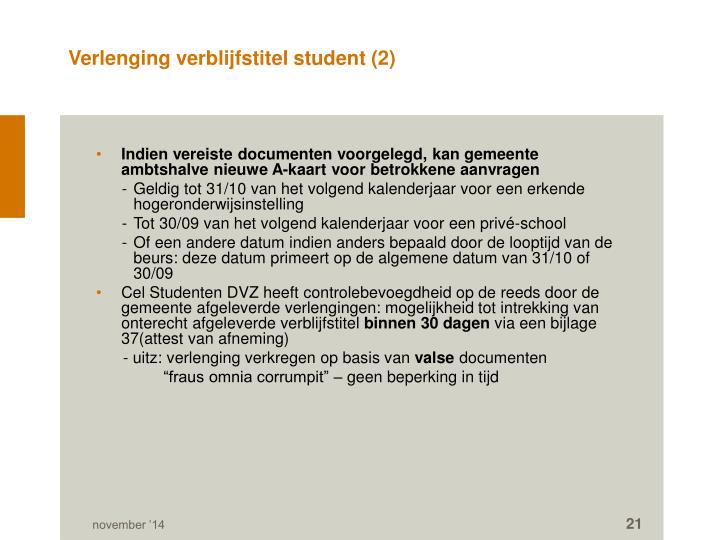 Verlenging verblijfstitel student (2)