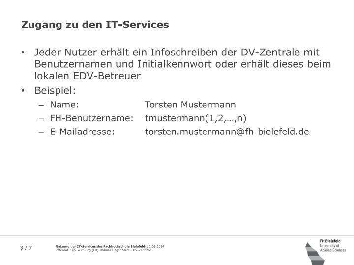 Zugang zu den IT-Services