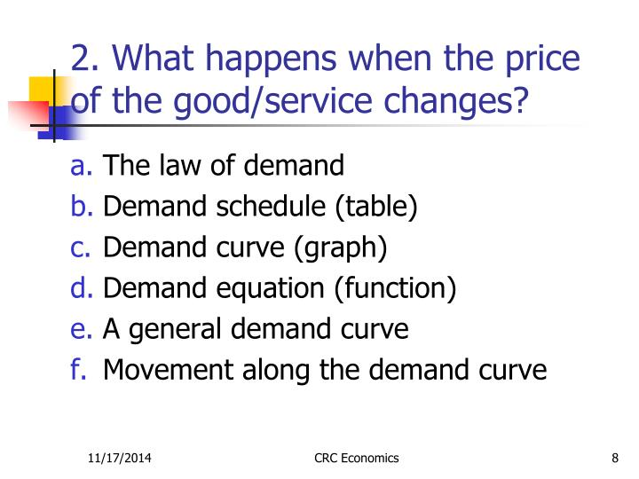 2. What happens when the price of the good/service changes?