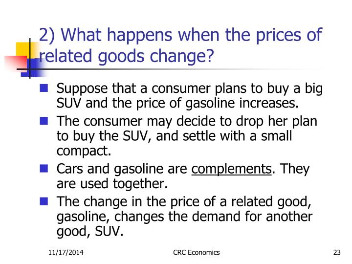 2) What happens when the prices of related goods change?