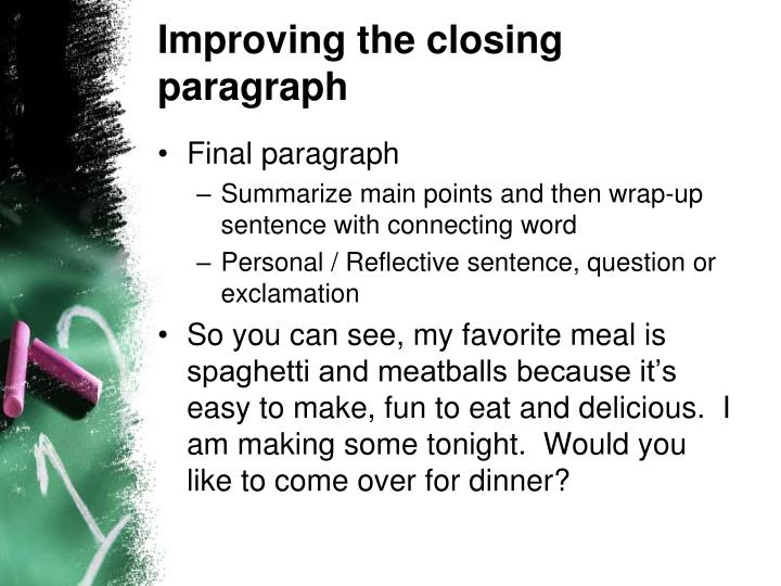 Improving the closing paragraph
