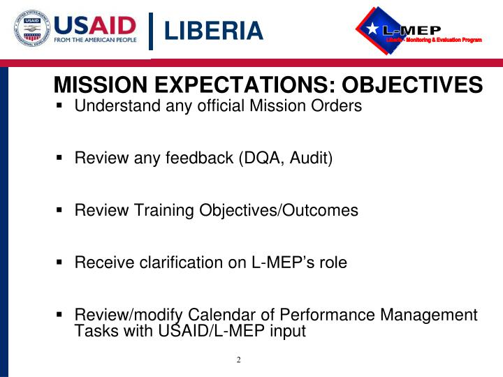 MISSION EXPECTATIONS: OBJECTIVES