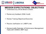 mission expectations objectives