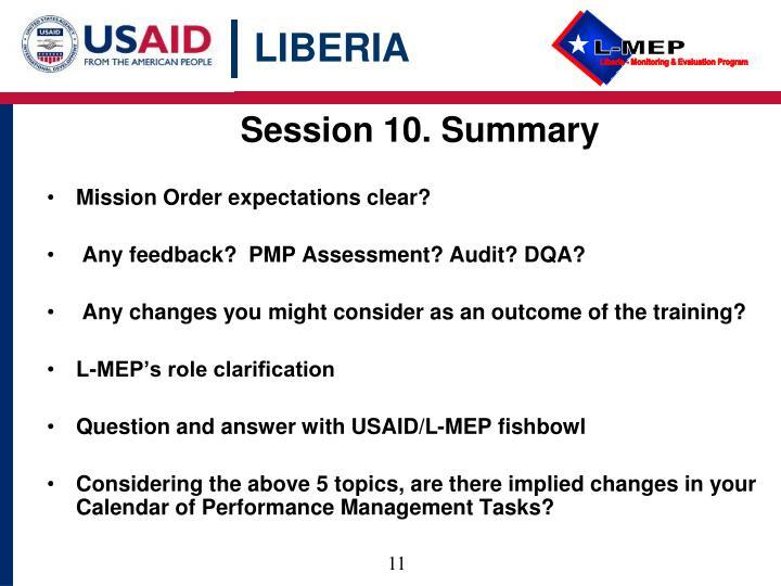 Session 10. Summary