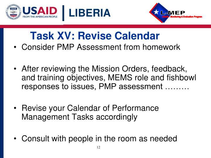 Task XV: Revise Calendar