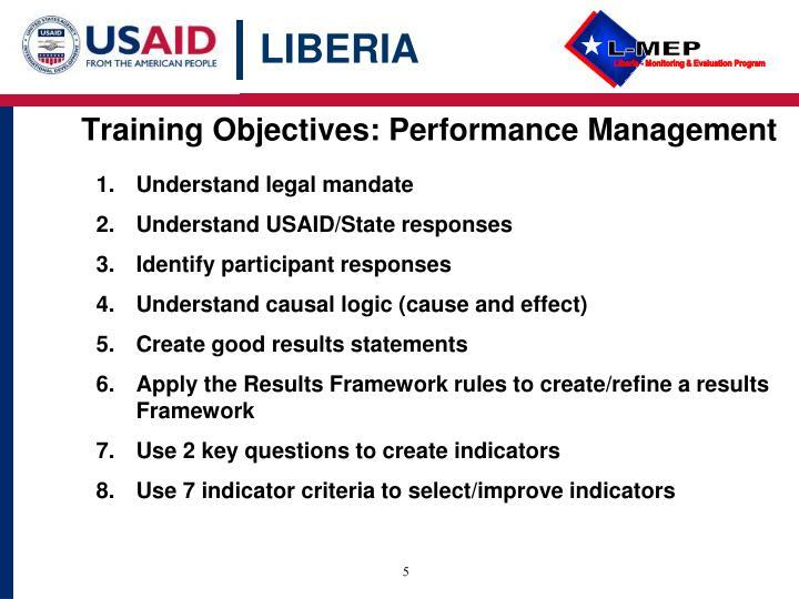 Training Objectives: Performance Management